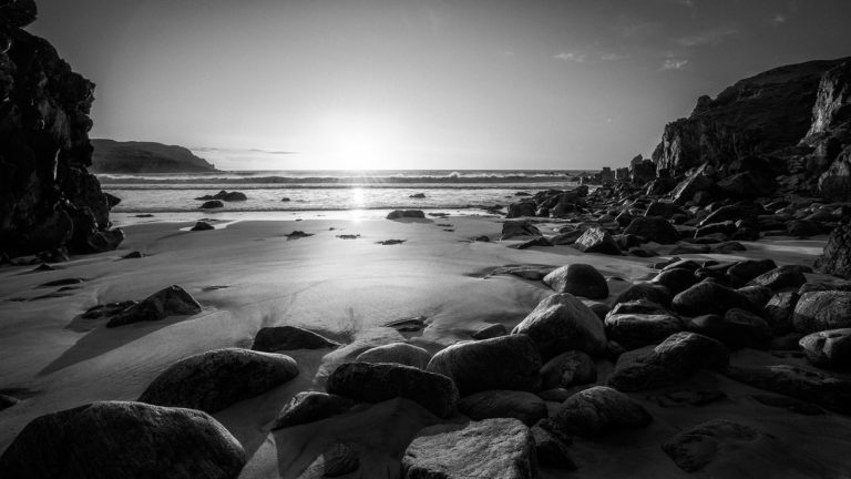 Scotland - Isle of Lewis Beach Sunset - Black & White Fine Art Photography Series