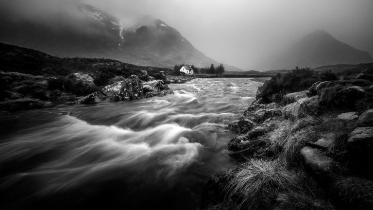 Scotland - Glen Coe River - Black & White Fine Art Photography Series